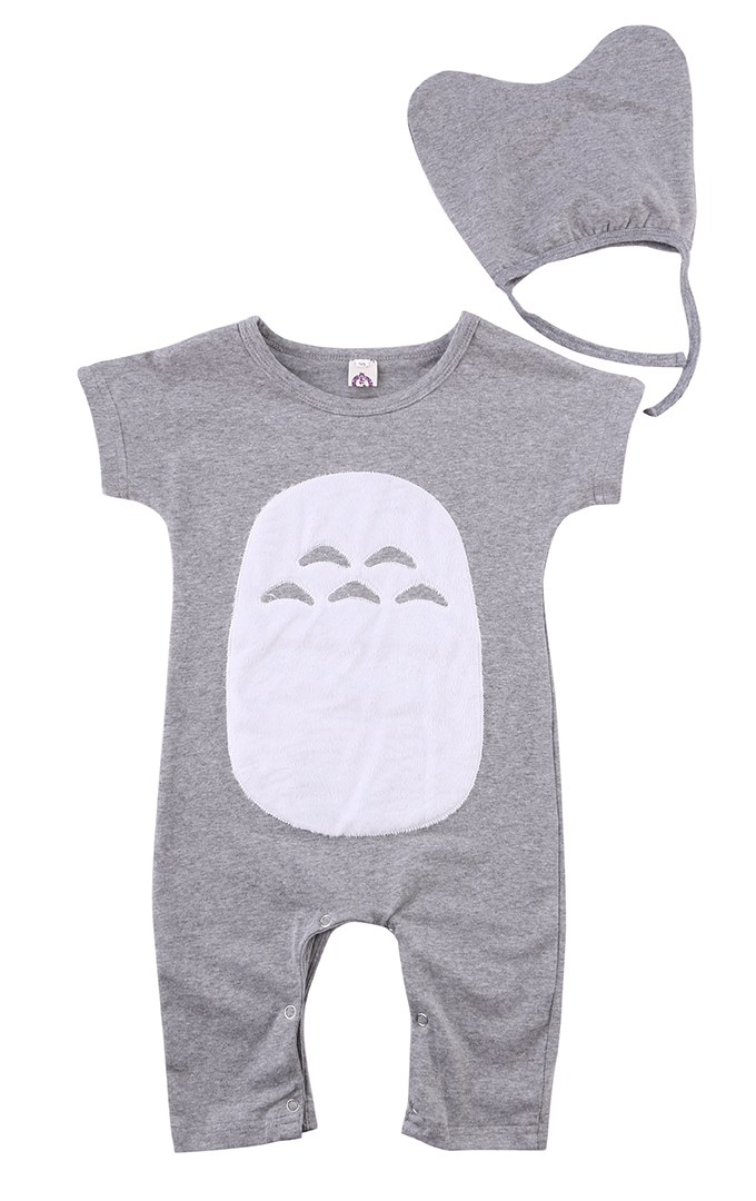 2016 Cartoon Figure Newborn Kids Baby Boy Girls Summer Short Sleeve Romper Jumpsuit Totoro+Hat Infant Clothes Outfit 3-18M 3pcs set newborn infant baby boy girl clothes 2017 summer short sleeve leopard floral romper bodysuit headband shoes outfits