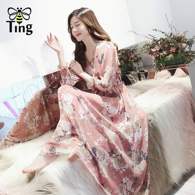 3b8ad04d0b0f Tingfly Summer Bohemian Beach Maxi Dress Rose Print Floral Long Sleeve  Chiffon Dress Pink V Neck