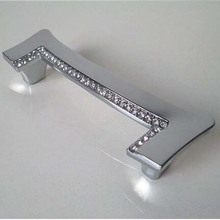 96MM Glass Crystal Dresser Pull Shiny silver kitchen Cabinet Handle chrome drawer wardrobe cupboard Furniture Handles