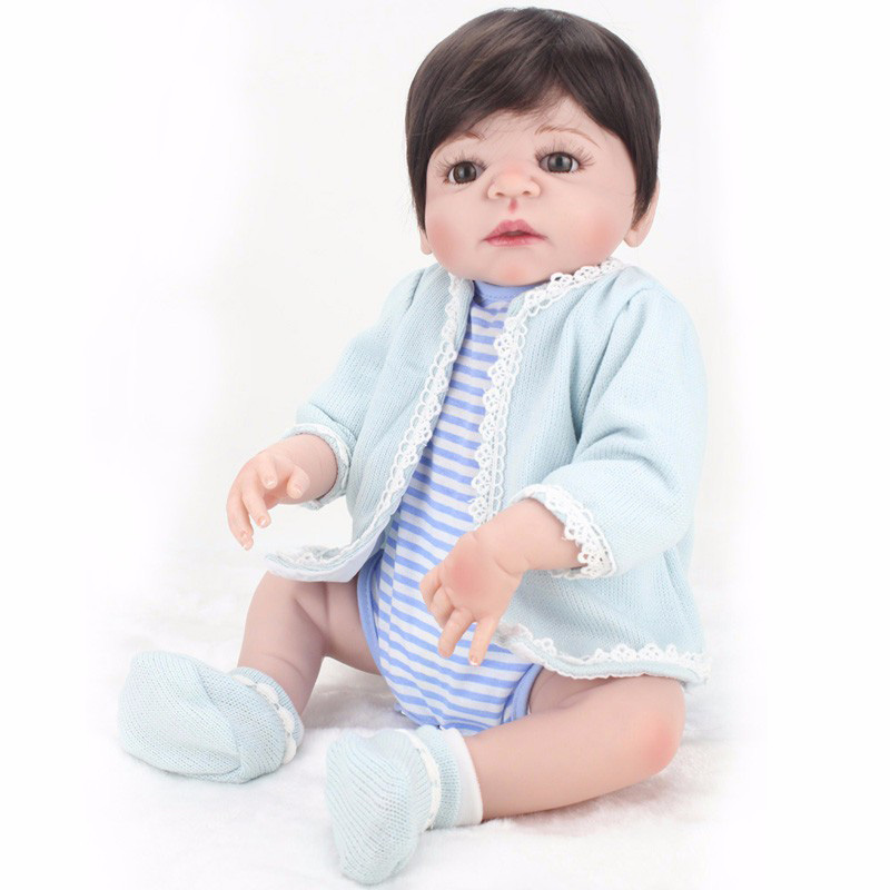 NPKDOLL 22 Inches Boy Doll Reborn Full Silicone Vinyl Body Newborn Babies Dolls toys for Children bebe gift bonecas Menina pursue 22 57 cm bathe boy doll reborn full silicone vinyl body reborn babies dolls toys for children boy girl christmas gift
