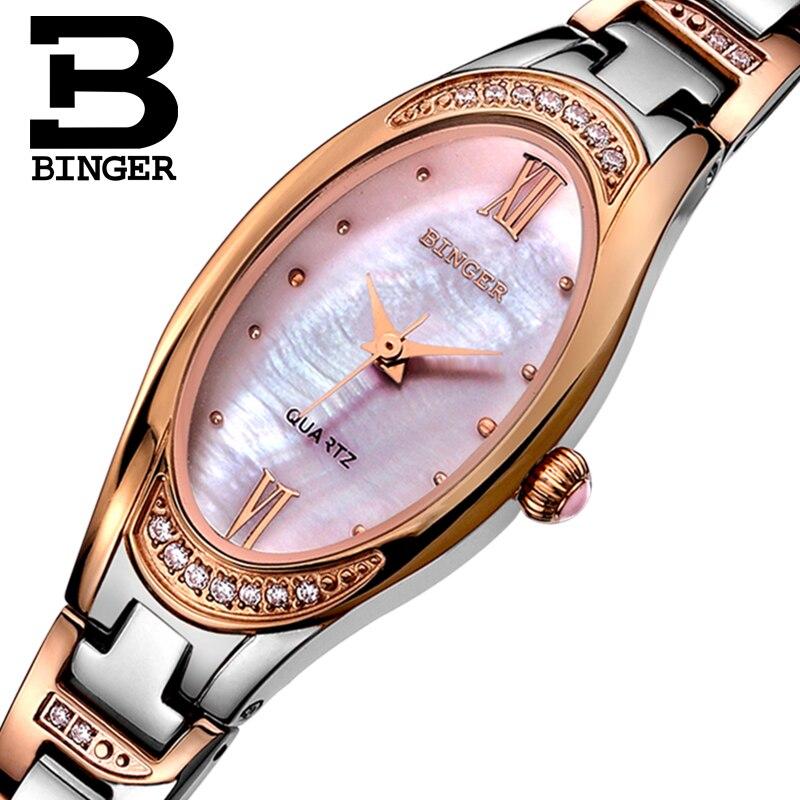 ФОТО BINGER Watches Women 2016 Fashion Slim Quartz Diamond Watch Elegant Dress Watch Relogio Feminino Clock Montre Femme B3022L