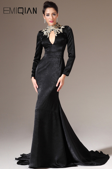 65ab88b99b Freeshipping Mermaid High Neck Long Sleeves Black Evening Dresses with Gold  Applique