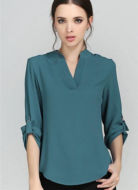 285520ed1a06e1 Blouses Women's Fashion Novelties European Style Solid Elegant V Neck Chiffon  Blouses Long Sleeve Women's Shirt 2018 Summer Tops