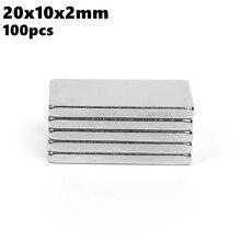 Strong Block Neodymium Magnets 20x10x2mm N35 Rare Earth NdFeB 100pcs 20x10x2 Super Powerful Magnetic Bar Magnet
