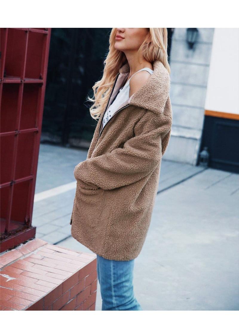 Europe and the United States street photo lapel imitation fur plush coat multi-color long wool coat (7)