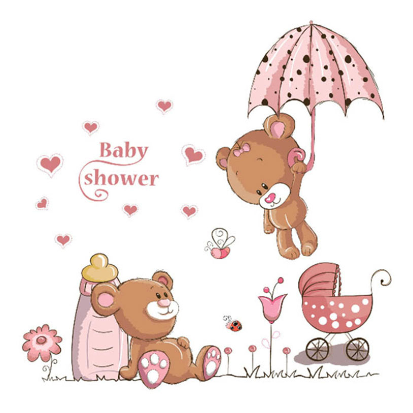 New Arrival DIY wall art Decals Cute Bear Wall Stickers Removable PVC Kids Baby Nursery Child Bedroom Home Decor Sticker 1 Pcs