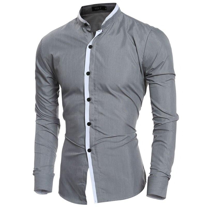 2016 fashion mandarin collar solid mens dress shirts long for Dress shirt collar fit