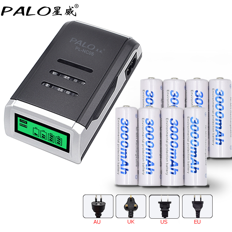 4 Slots LCD display Smart battery Charger for AA / AAA Battery + 8 pcs AA 3000mah nimh rechargeable batteries 3 6v 2400mah rechargeable battery pack for psp 3000 2000