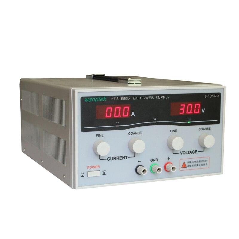 220V 15 V/60A haute qualité Wanptek KPS1560D affichage réglable de haute précision alimentation cc alimentation à découpage haute puissance