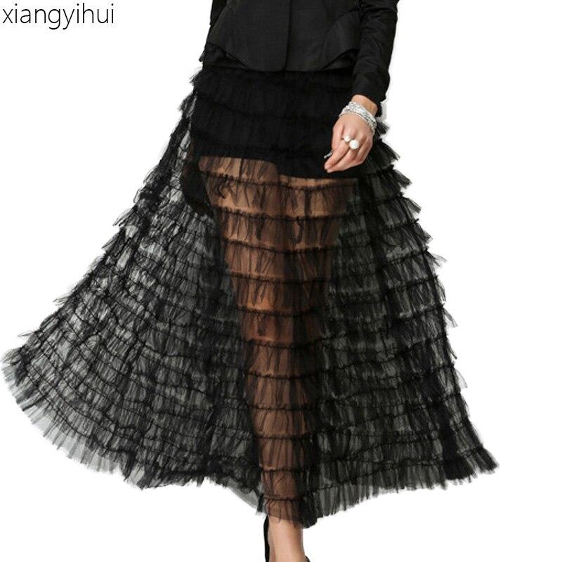 Streetwear 2018 Sexy Transparent longue jupe femmes décontracté taille haute maille Zipper noir blanc Maxi jupes femme Tulle