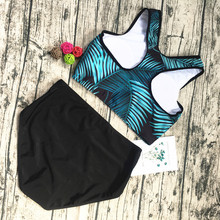 Sexy High Neck Bikini 2018 Swimwear Women Swimsuit Bandage Crop Top Push Up Brazilian Bikini Set Blue leaves Bathing Suits