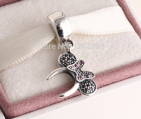 Fits Pandora Bracelets Minnie Headband Silver Charms With Zirconia New Real 925 Sterling Silver Beads DIY