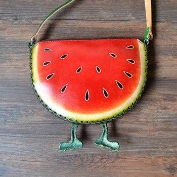 Aprendizaje de bolso de cuero genuino frutas sandía Bolso pequeño mensajero bolso precioso bolso lindo
