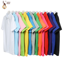 Aoliwen New brand men polo short sleeve cotton Sweat Breathable Anti-pilling Business Casual Solid Male Polo Shirt high quality