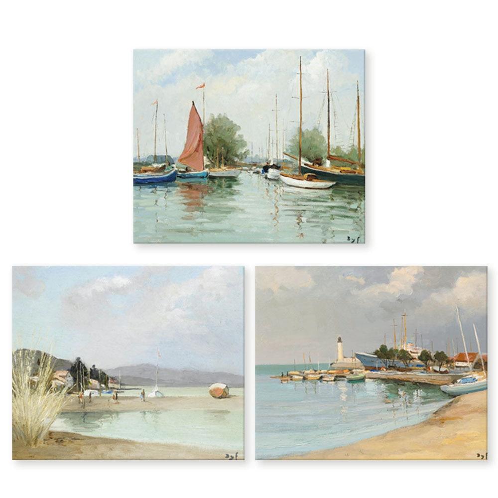 Original Oil Painting HD Print On Canvas Wall Art,Sailboats palm tree Unframed