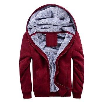 NIBESSER Hoodies Sweatshirts Men Winter Warm Thick Plus Velvet Hoodies Jacket Parkas Casual Solid Streetwear Mens Cardigan Coat