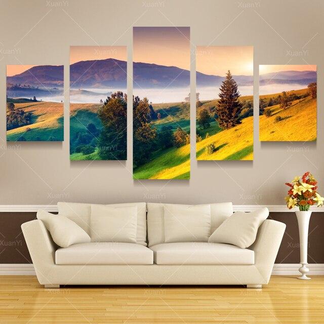 5 panel modern paisaje monta as pintura cuadro del lienzo - Decoracion de cuadros en paredes ...