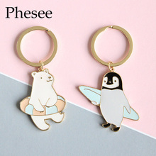 Polar Bear Penguin Keychain Gold Plated Alloy Keyrings Holder Bag For Car christmas Gift For Women And Men Keychains Jewelry