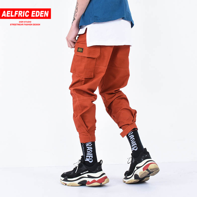 Aelfric Eden Casual Cargo Pants Men Brand Clothing Feet Sweatpants Male Stretch Pockets Hip Hop Orange Ankle-length Joggers KT65