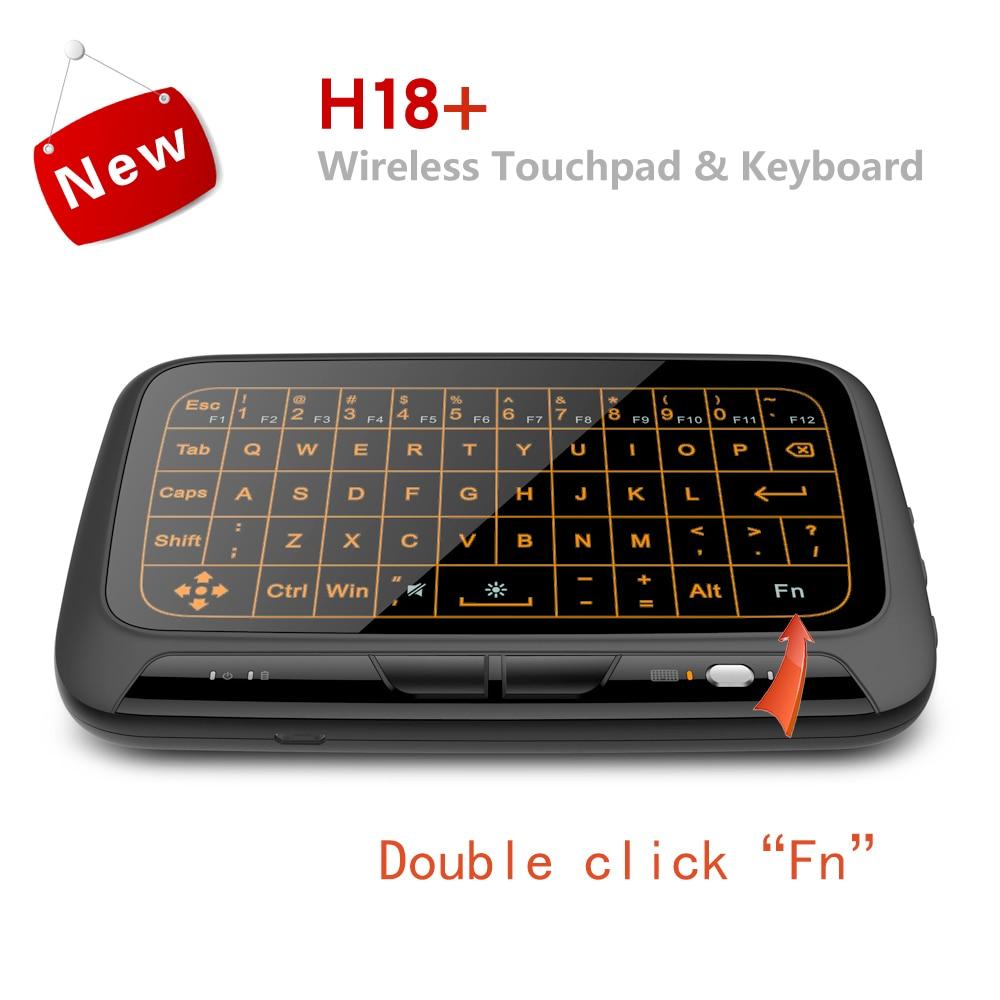 H18 + беспроводная мини-клавиатура Air Mouse, полноэкранная сенсорная клавиатура 2,4 ГГц QWERTY, сенсорная панель с функцией подсветки для Smart TV PS3