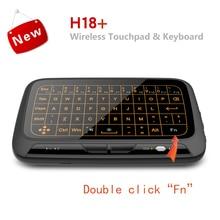 H18 + bezprzewodowa mysz mini klawiatura pełnoekranowa dotykowy 2.4GHz QWERTY klawiatura touchpad z funkcją podświetlenia dla Smart TV PS3