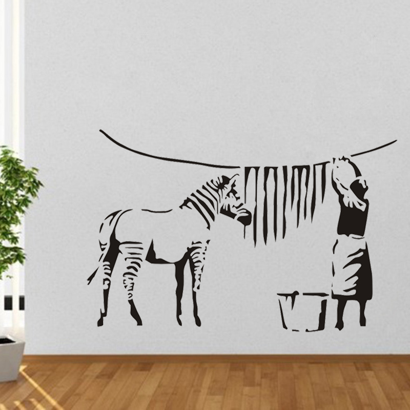 뱅크시 낙서 세척 얼룩말 줄무늬 큰 비닐 벽 스티커 - 가정 장식 - 사진 2