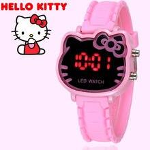 edf30b336f7 2019 Hello Kitty Cartoon Watches Kid Girls Relogios Pink Silicone Strap Children  Led Digital Wrist Watch