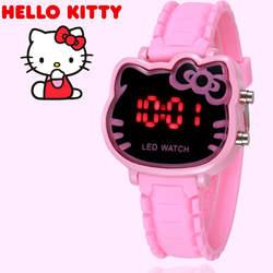 2019 hello kitty мультфильм часы Малыш обувь для девочек Relogios розовый силиконовый ремень детей светодиодный цифровой наручные часы Нина Reloj Nino