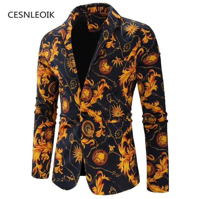 אופנה גברים פרחוני הדפסה בלייזר Slim מפלגה אחת חזה חליפת מעיל ארוך שרוול מעיל