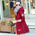 The new Hanfan Slim thin hooded long casual female students drawn rope windbreaker coat tide TB38
