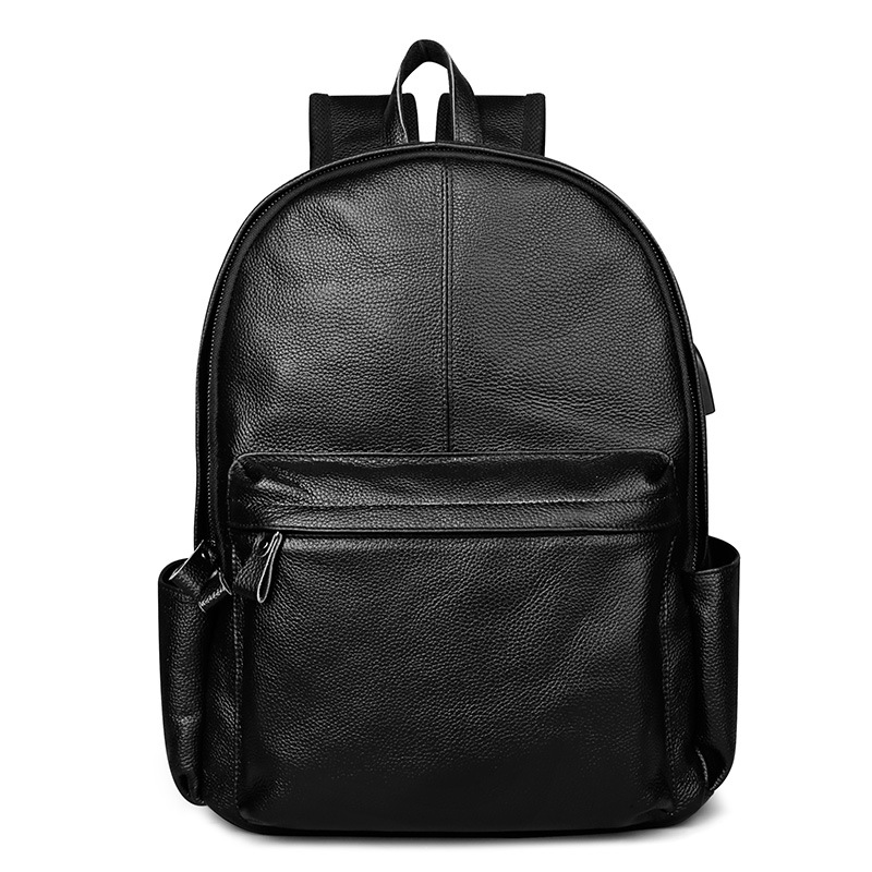 New Korean High Quality Cow Genuine Leather Men Backpack Preppy Style School bag Large Capacit Solid Color Simple Rucksack new designer women backpack for teens girls preppy style school bag genuine leather backpack ladies high quality black rucksack