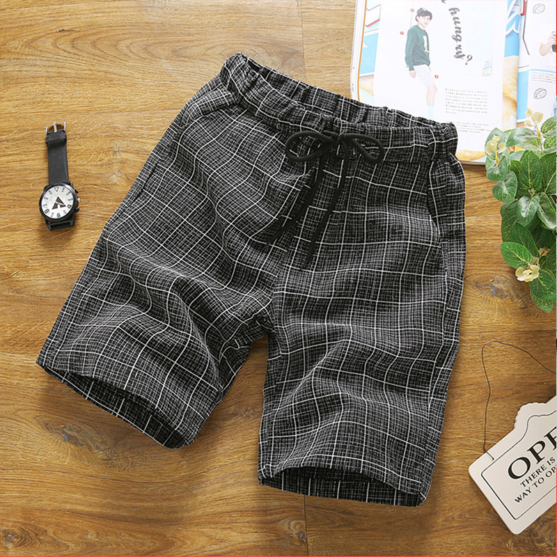 Casual Shorts Summer Men's Korean Style Chequered Shorts Men's Leisure Trousers Summer Pants Minutes Pants 5 Minutes Pants Tide