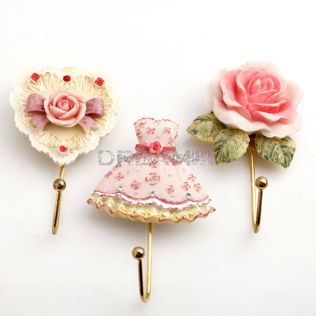 Dream Rustic Cartoon Multicolour Resin Small Flower Clothes Hook Hanging