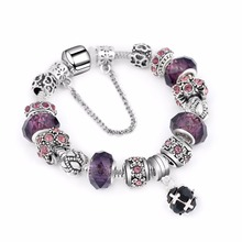 New Silver Plated Bead Charm Teal Faceted Glass Beads Crystal Pendant Fit Women Pandora Bracelets & Bangles Jewelry