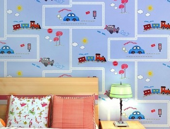 Kids Cars For Sale | Hot Sale Promotion Photo Wallpaper Wall Paper Papier Peint Non-woven Wallpaper Boy Car Children's Room Bedroom Striped