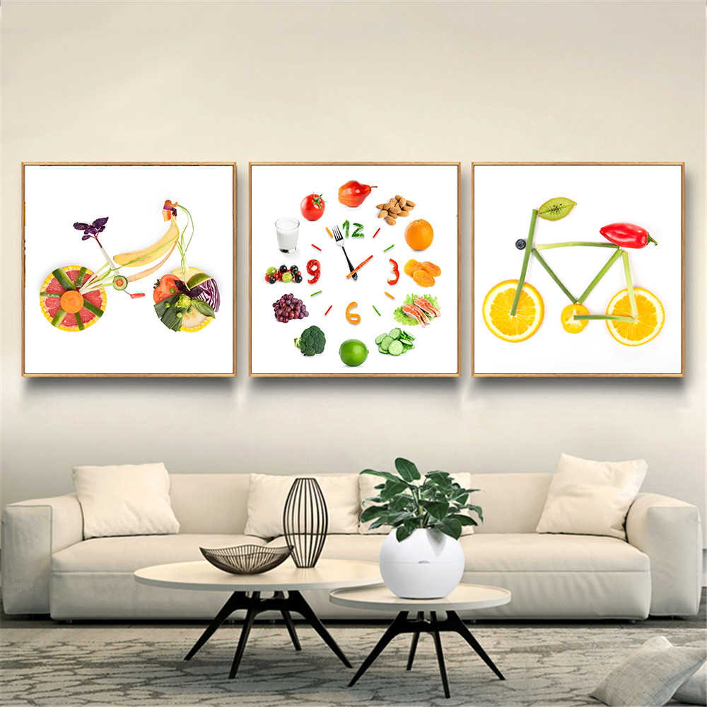 Vegetable Fruit Bike Art Lemon Bicycle Clock Silk Poster Nordic Kitchen Decoration Food Painting cuadros abstractos modernos