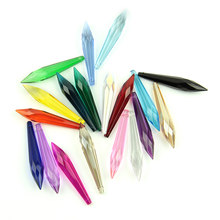 63mm 10pcs/50pcs/100pcs Mixcolor Glass Crystal Multifaceted Icicle U-drop Prism Pendants for Lamp Decor Hot Sales(China)