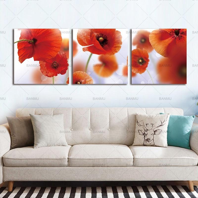 Moderní zeď Umění Květiny Nástěnné malby Abstraktní Červené květy Vlčí máky Tisk na plátně modulární obraz Domácí dekor