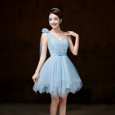 Sweet Memory Blue Double shoulders short Bridesmaid dress Spaghetti Straps  crepe wedding party Bridesmaid dresses SW0013-in Bridesmaid Dresses from  Weddings ... 64ea8139b04f