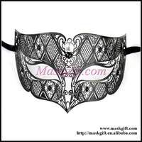 Free Shipping Hot Sell Men Mask Style MD008 BK Venetian Metal Laser Cut Masquerade Party Mask