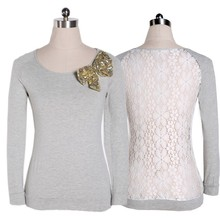 2014 women winter pullover blouses gray white lace tops soft casual long sleeve female shirts blusas femininas S – XL b16