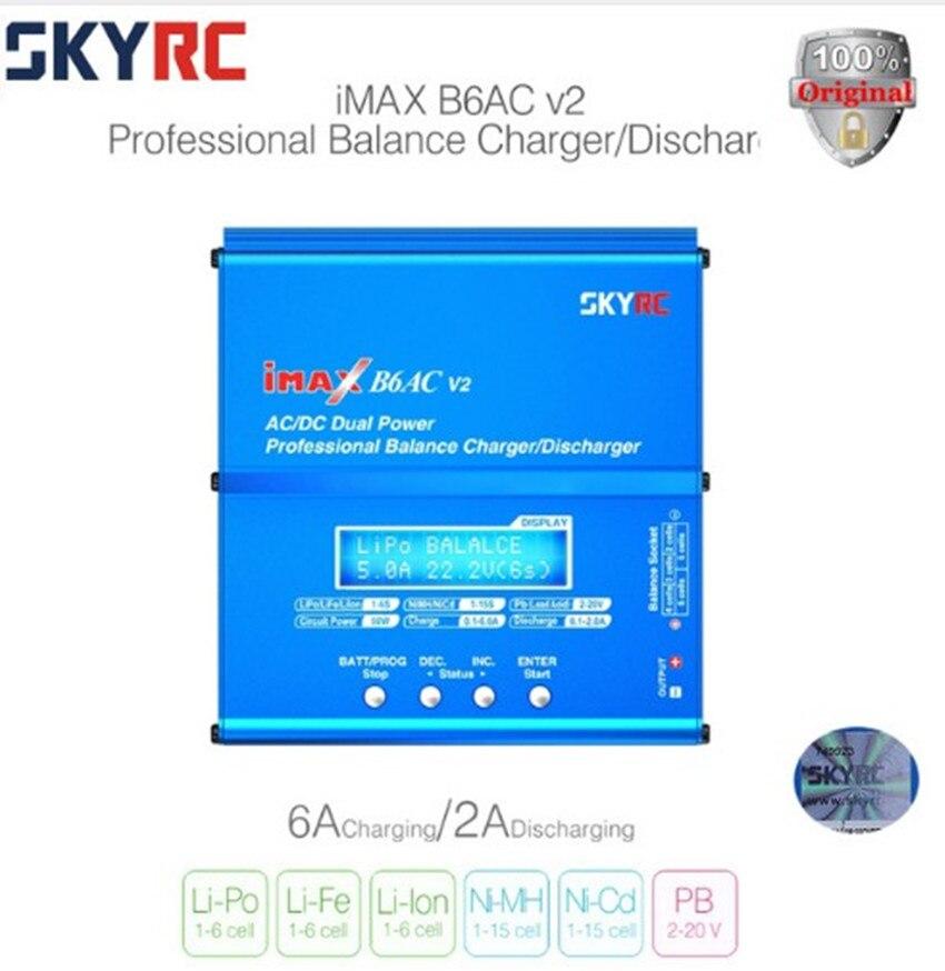 Véritable SKYRC iMAX B6AC V2 Double Puissance (6A, 50 W) Équilibre Chargeur/Déchargeur pour Lipo Batterie + UE/ÉTATS-UNIS/ROYAUME-UNI/UA plug power fil d'alimentation