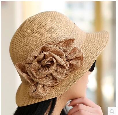 women s summer flower sun hats beach hats for women foldable red sun hat  brand wide brim sun hats for women with big heads-in Sun Hats from Apparel  ... 1cc769aaff2