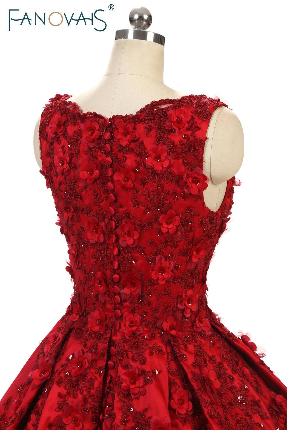 Suknie balowe proste burgundowe Koronkowe suknie wieczorowe 3D kwiat - Suknie specjalne okazje - Zdjęcie 5