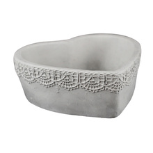 Silicone Concrete Flowerpot Mold Heart Shape with Lace Pattern Handmade Cement Planter Mould