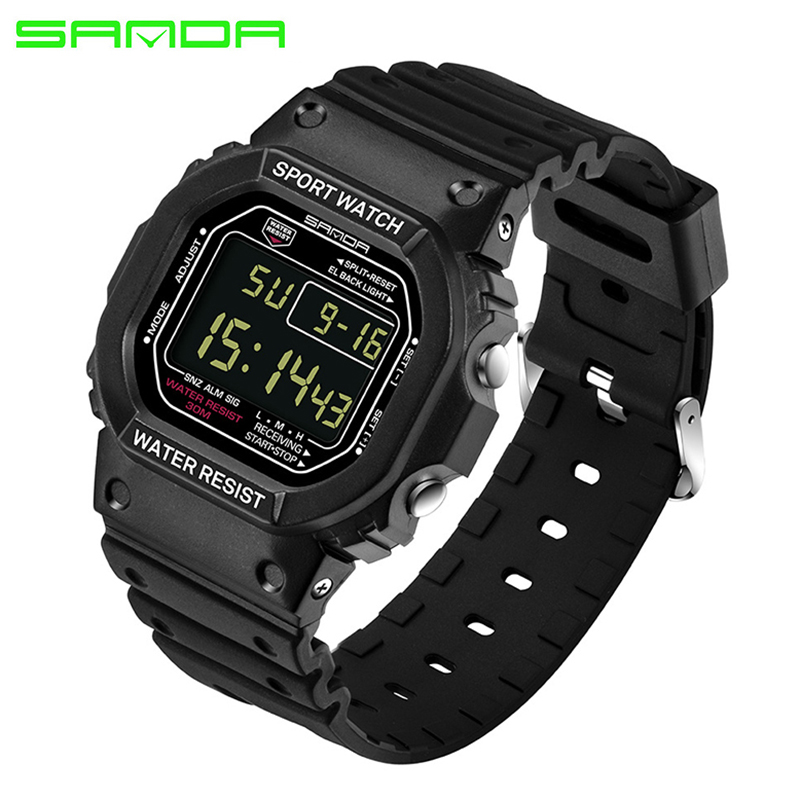 SANDA Automatic Men Woman Rectangle Digital Watches Fashion Sport Clock Waterproof Datajust Army Wristwatch Top Quality Alarm