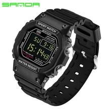 SANDA 329 Automatic Men Rectangle Digital Clock Waterproof Datajust Military Wristwatch Top Quality Fashion Sport Watch