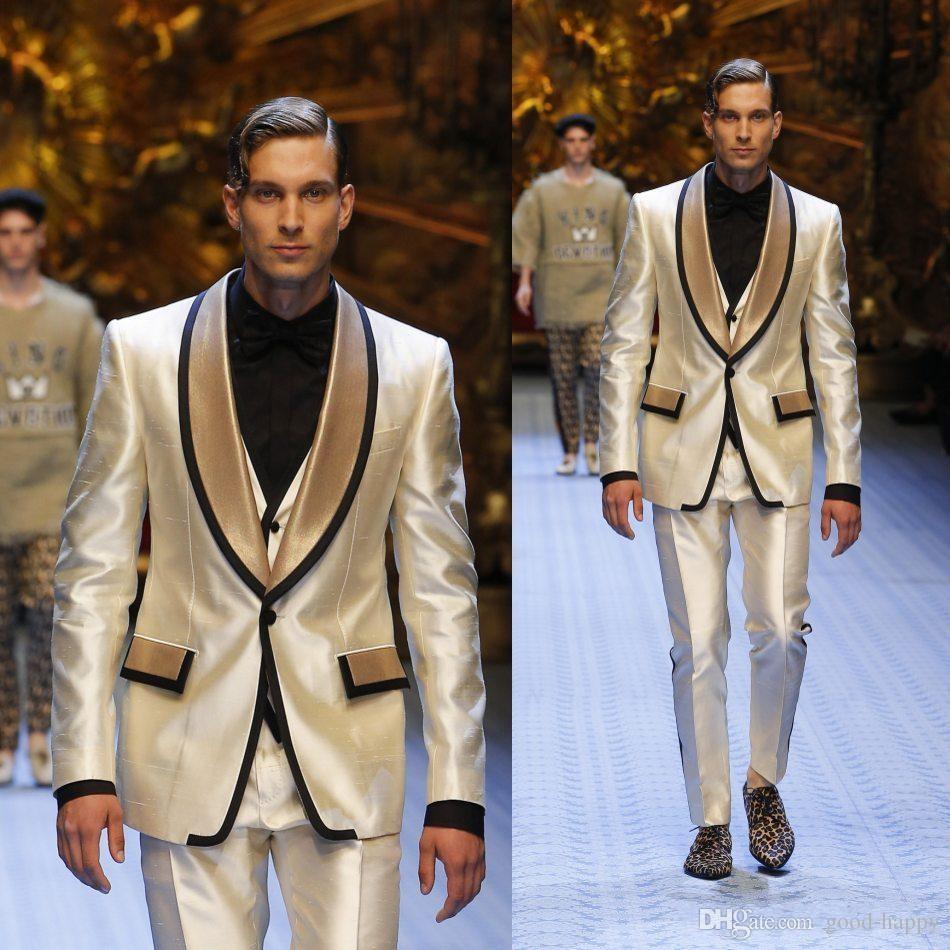 Fashion Shiny Yellow Groom Tuxedos Excellent Men Wedding Dress Men