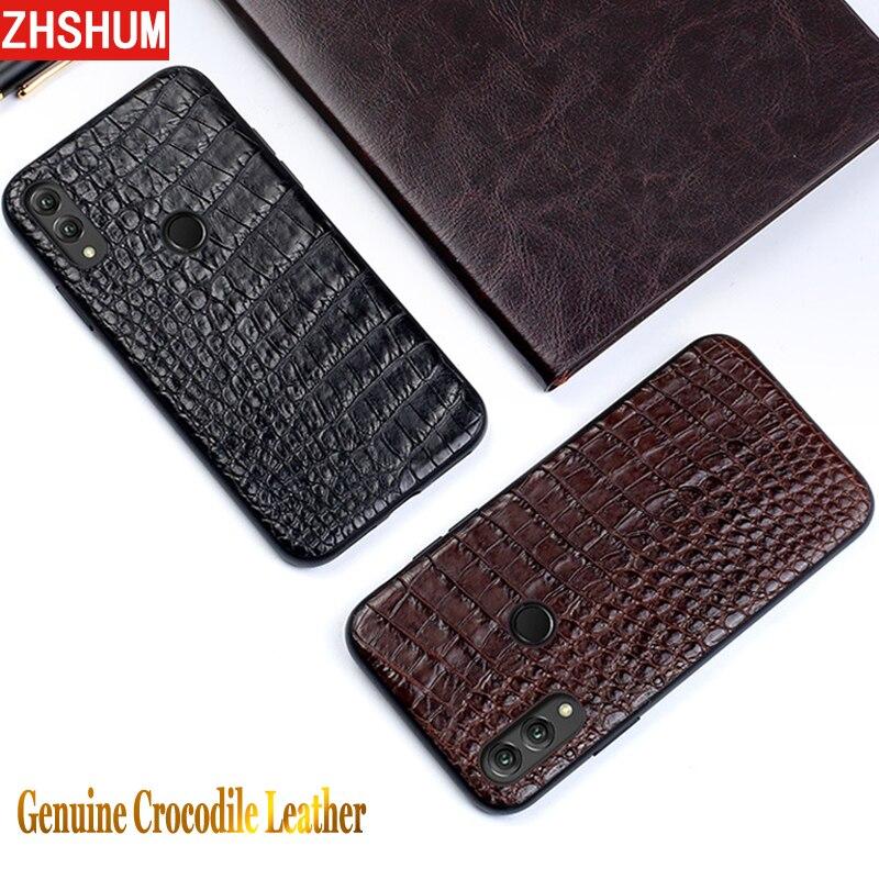Véritable Crocodile En Cuir étui pour huawei P20 Lite De Luxe À La Main coque peau Plein revêtement arrière pour L'honneur Note 10 Note10 Xiaomi 8
