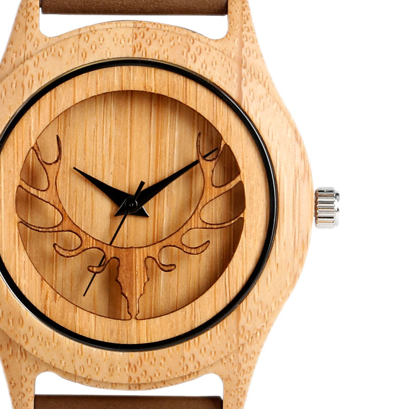 Hot Fashion Elk Deer Head Bamboo Watches Men Women Genuine Leather Strap Sport Casual Nature Wood Creative Male Female Clock